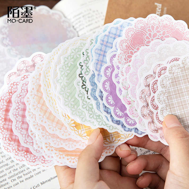 30 Stks/pak Kant Serie Kawaii Leuke Achtergrond Memo Pad Dagboek Stationaire Vlokken Scrapbook Decoratieve Sticky Notes Grid Sticker