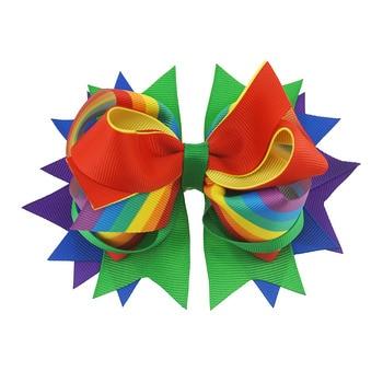 цена на Your Bows 1PC Rainbow Boutique Bows Hairpins Grosgrain Ribbon Hair Bows Children Hair Clips Fastion Kids Gilrs Hair Accessories