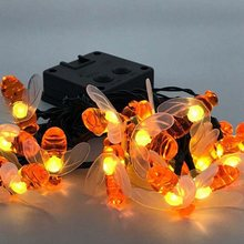 Solar Powered Cute Honey Bee Led String Fairy Light 20leds 30leds Bee Outdoor Garden Fence Patio Christmas Garland Lights(China)