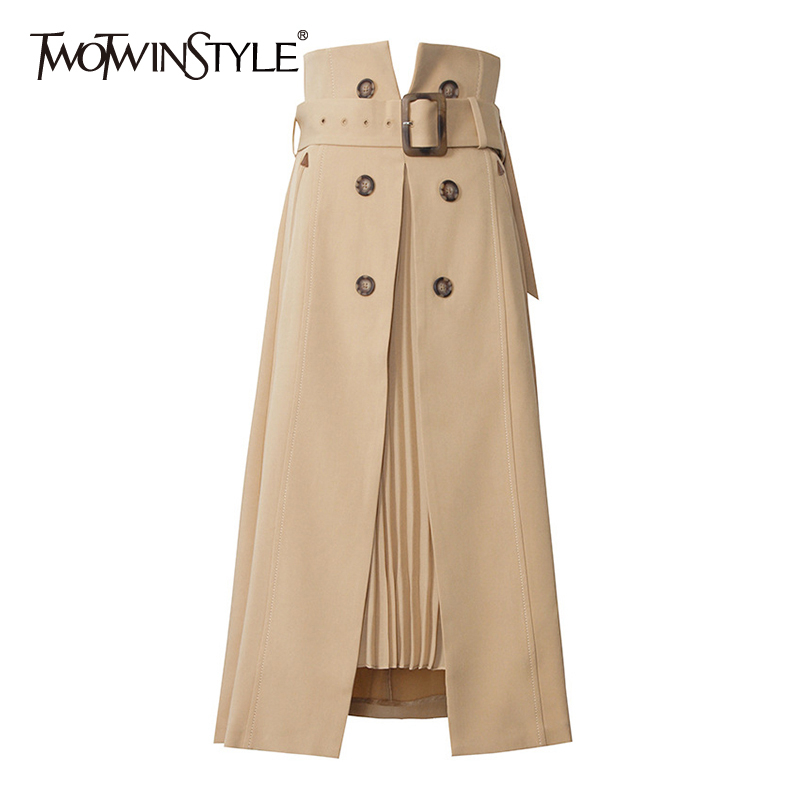 TWOTWINSTYLE Elegant Patchwork Pleated Split Women Skirts High Waist With Sashes Irregular Hem Casual A-Line Skirt Female Spring