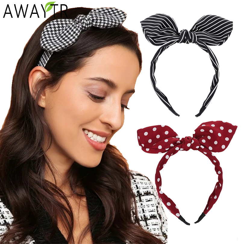 AWAYTR Hairbands Striped Print Girls Bow Widened Hair Hoop Big Ribbon Fashion Lady Headband Women For Hair Accessories   Headwear