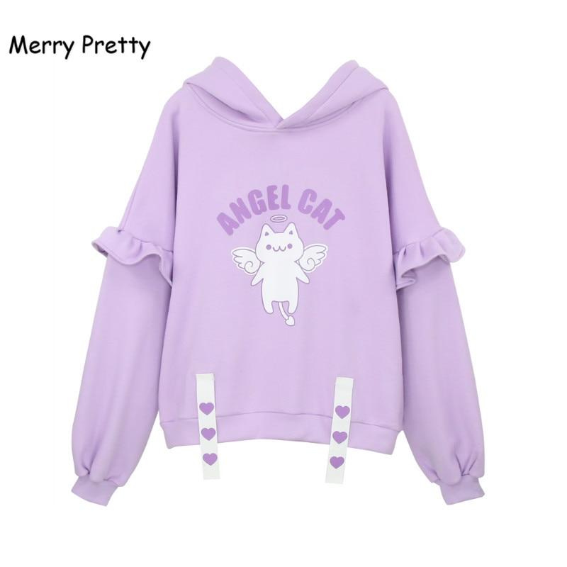 Merry Pretty 2020 Kawaii Women Sweatshirt Sweet Purple Hooded Cat Hoodies Japanese Cute Angel Cat Ruffles Hoodie Girls Pullovers