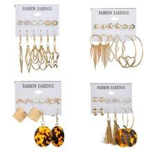 LETAPI Fashion Acrylic Shell Earrings Set For Women Bohemian Leopard Tassel Long Stud Brincos Geometric DIY Jewelry