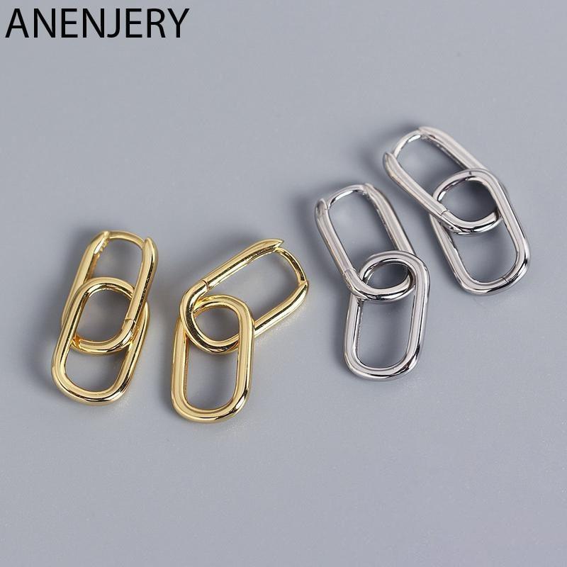 ANENJERY de Plata de Ley 925 Plata geométrica Oval aro pendientes para las mujeres Simple de Metal de estilo desmontable pendientes para las mujeres S-E1412