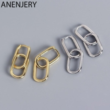 ANENJERY 925 Sterling Silver Geometric Oval Hoop Earrings For Women Simple Metal Style Detachable Earrings For Women S-E1412