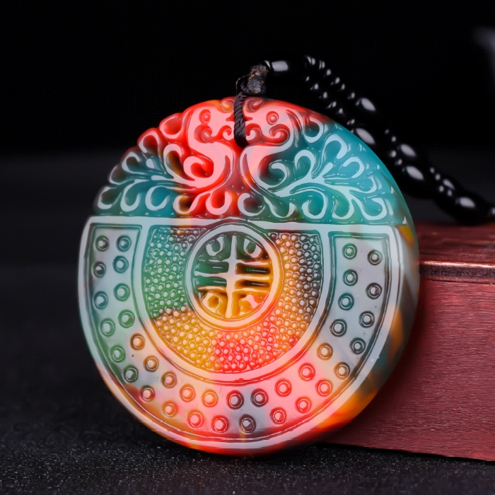 Colorful Jade Phoenix Jade Pendant Necklace Jewellery Chinese Hand-Carved Relax Healing Women Man Luck Gift Amulet New