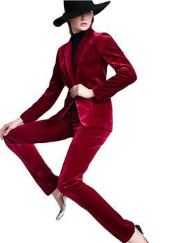 Women Suits Velvet Elegant Work Suits for Ladies Office Tuxedo Women Uniform Prom Party Two Piece (Jacket+Pant) black velvet elegant pant suits costumes for women office business suits formal work wear 2 piece sets office uniform styles