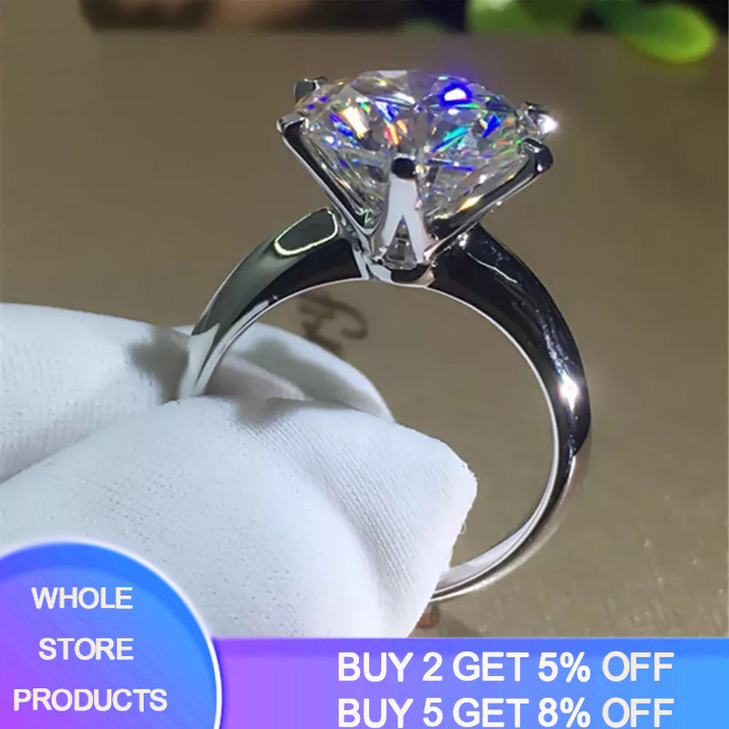 YANHUI With Certificate 18KRGP Stamp Pure Solid White Gold Ring Round Solitaire 8mm 2.0ct Stone Wedding Rings For Women ZSR168