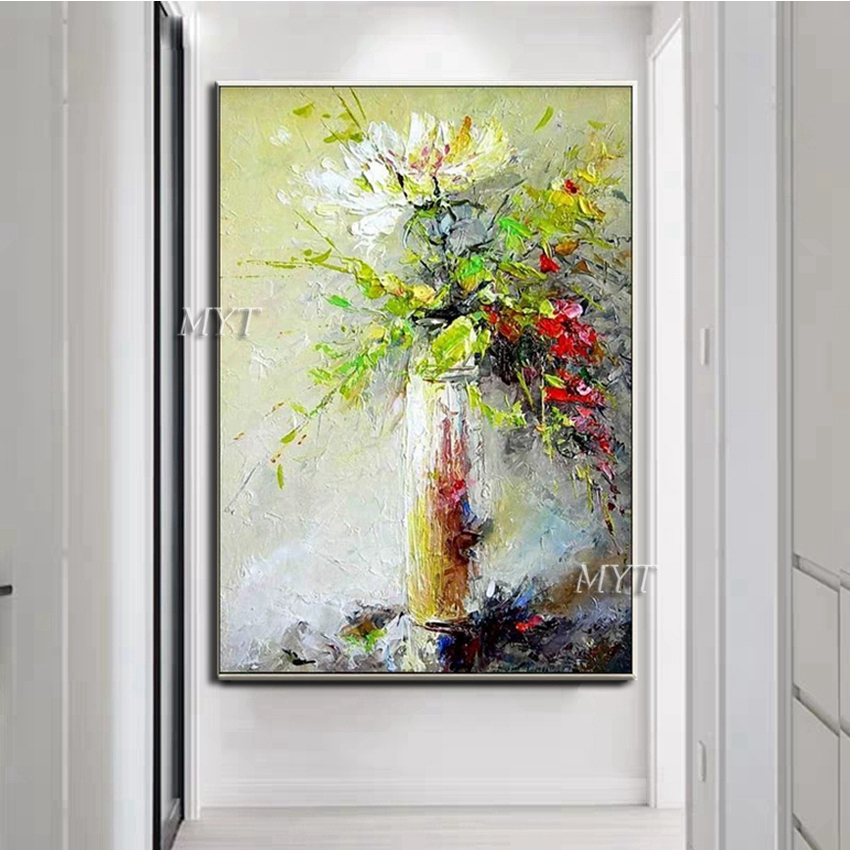 Image 2 - Texture Thick Vase Flower Handmade Oil Painting Canvas Wall Art Oil Paintings Canvas Knife Art Home Decoration Wall PicturesPainting & Calligraphy   -
