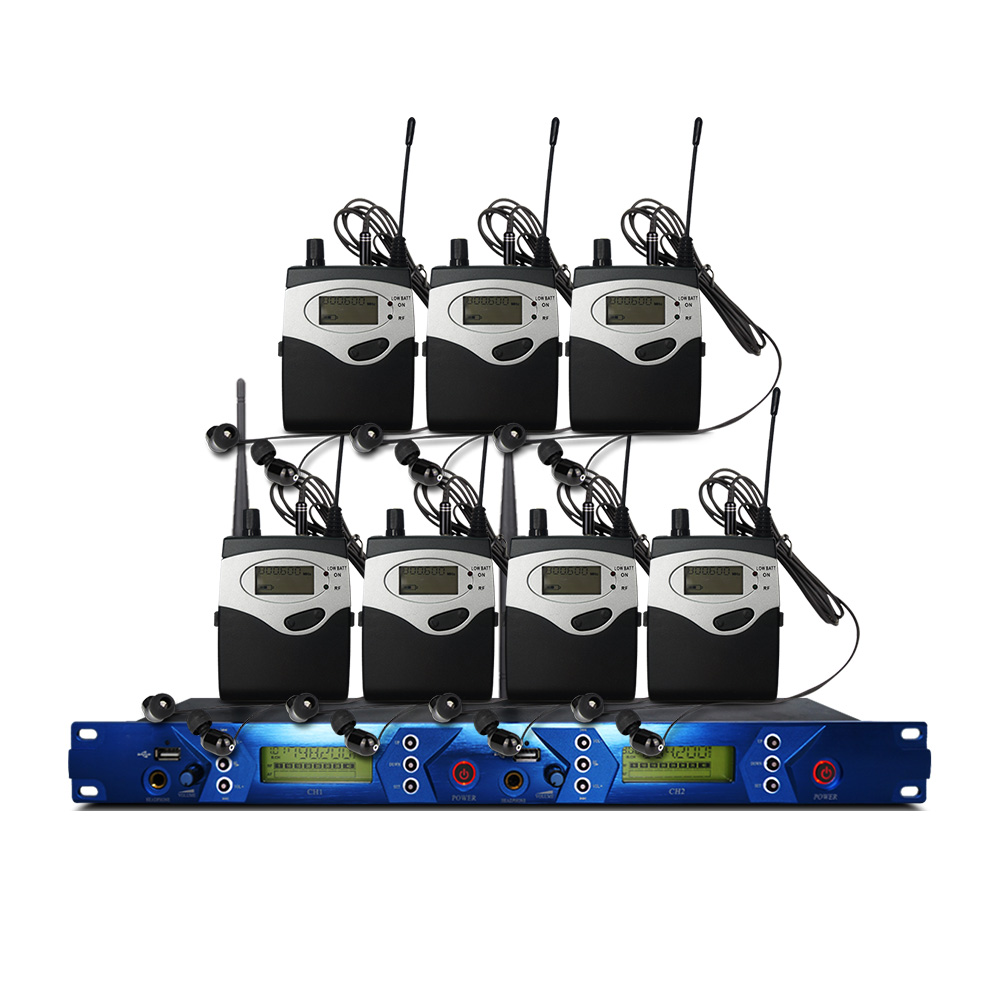 In Ear Monitor System 2 Channel 7 Bodypack Transmitter Monitor with Monitor Wireless for Stage Studio Equipment|Stage Audio| |  - title=
