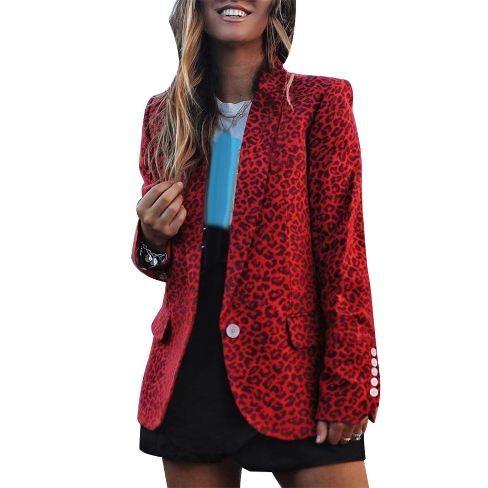 Office Lady Leopard Print Lapel Collar Buttons Cuff Pockets Decor Blazer Jacket 2020 New Womens Blazers