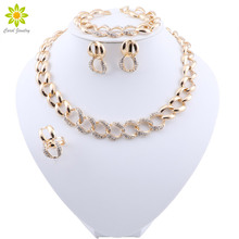 Crystal Necklace Earrings Jewelry-Sets Bracelet Ring-Nigerian Bridal-Dubai Wedding Gold-Color