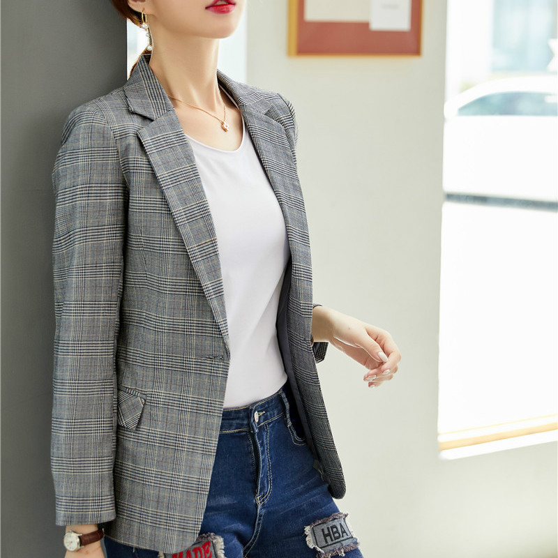 Female Elegant Formal Office Work Wear Fashion Casual Women Blazers and Jackets Grey Plaid Slim Ladies Outerwear Coat OL Styles
