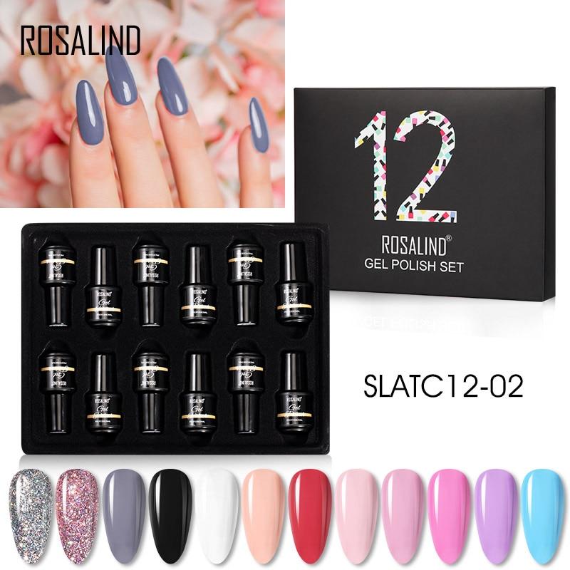 Набор гель-лаков для ногтей Rosalind набор полупостоянных УФ-гибридных лаков для маникюра базовый верхний слой гель для дизайна ногтей Набор лаков 3