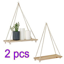 2PCS Wooden Wall Hanging Shelf Wall Bead Clapboard Decoration Children Kids Clothing Store Room Display Stand