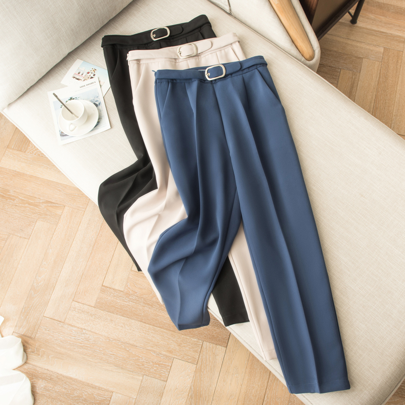 Casual Belts Women Skinny Pants High Waist Pockets Women Work Business Pants 2019 Spring Ankle-Length Pants