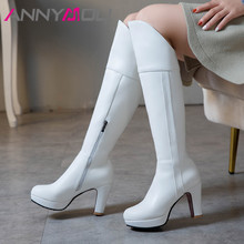 ANNYMOLI Winter Knee High Boots Women Zipper Platform Thick Heels Long Extreme Heel Shoes Ladies Fall Plus Size 33-43