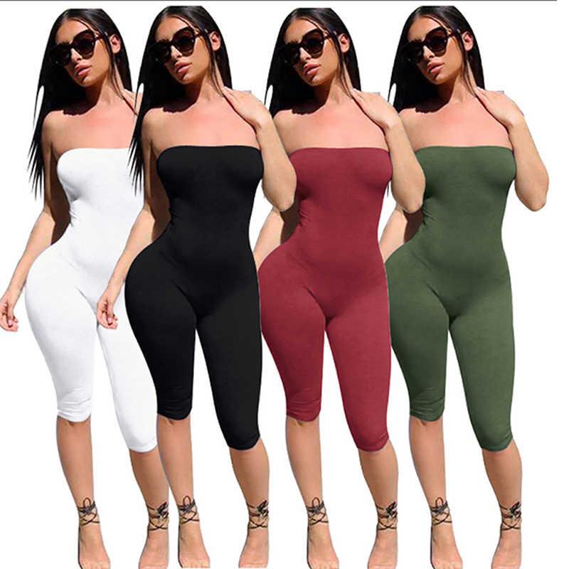 Peleles y monos ajustados de mujer 2020 sin mangas de tubo sin tirantes de brillo negro