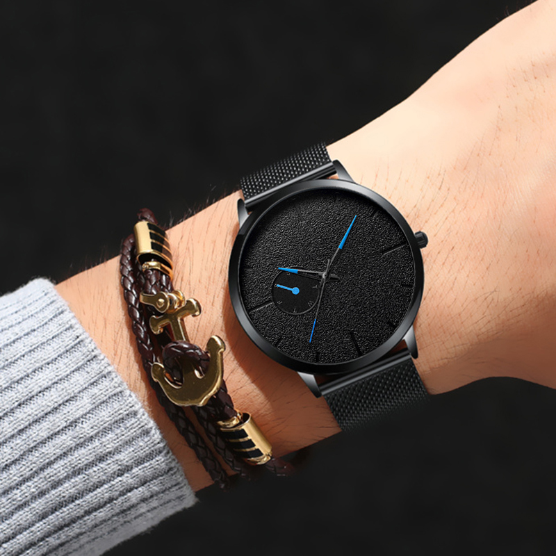 Men Watches Casual Ultra Thin Minimalism Brand Quartz Simple Blue Pointer WristWatch Mesh Strap Business Relogio Masculino