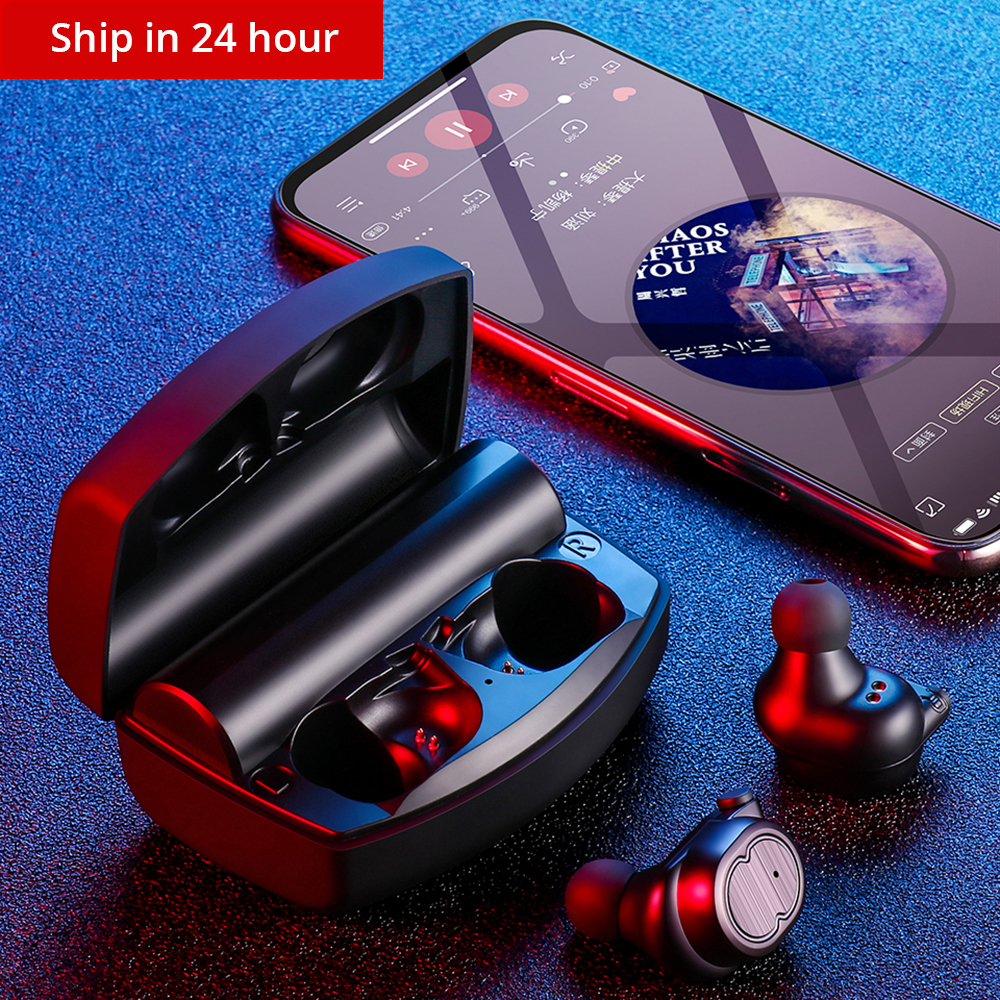 New V5.0 Bluetooth Stereo Earphone Wireless IPX7 Waterproof Touch Earbuds Headset 3500mAh Battery LED Display Type-c Charge Case