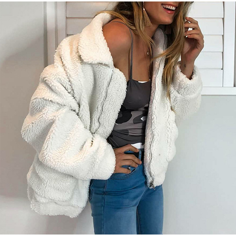 Elegant Warm Soft Zipper Fur Coat Jacket 9