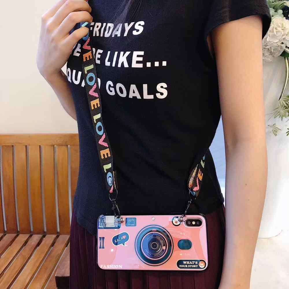For Samsung Note10 Blu-ray camera Pattern Phone Case For iPhone X XR XS Max 6 6S 7 8 Plus 5 5S SE case with Lanyard and Bracket