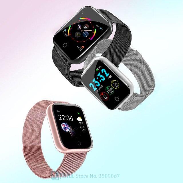 Ze stali nierdzewnej Smart zegarek kobiety mężczyźni smartwatch dla androida IOS elektronika inteligentny zegar opaska monitorująca aktywność fizyczną kwadratowe inteligentny zegarek godziny