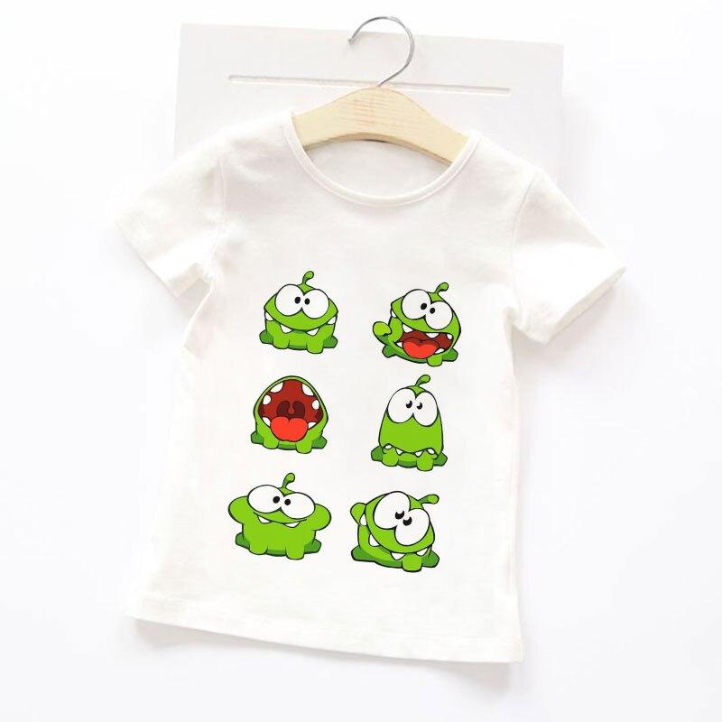 2021 топ с коротким рукавом/футболка Приключения Om Nom Stories унисекс футболка аниме мультфильм детская футболка для девочек мягкая ткань одежды