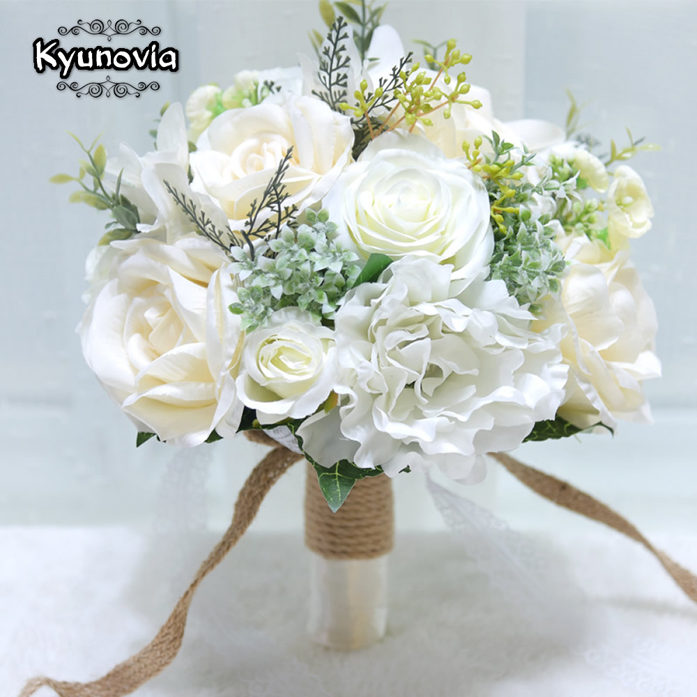 Kyunovia Natural Bouquet Ramos De Novia Wedding Flowers Peony Silk Eco Flowers Bridesmaid Bouquets Ivory Wedding Bouquet D152