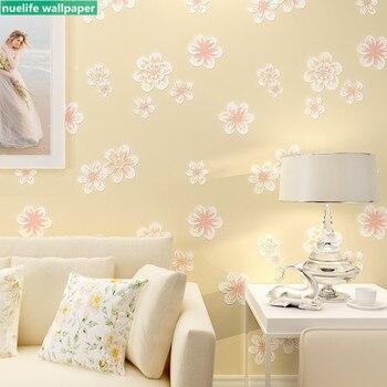 розовые и желтые постельные принадлежности   0,53x10 м Романтические Розовые Желтые садовые цветы 3D нетканые обои для свадебной комнаты Детская комната Спальня Настенные обои