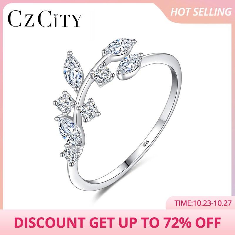 CZCITY coréen 925 en argent Sterling à la main Olive feuille anneaux pour les femmes exquis CZ pierre réglable anneau ouvert argent 925 bijoux