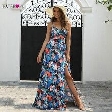 Сексуальное платье для выпускного вечера с цветочным принтом, длинное милое ТРАПЕЦИЕВИДНОЕ ПЛАТЬЕ С v-образным вырезом на бретельках, с разрезом сбоку, простое пляжное платье Gala Jurken