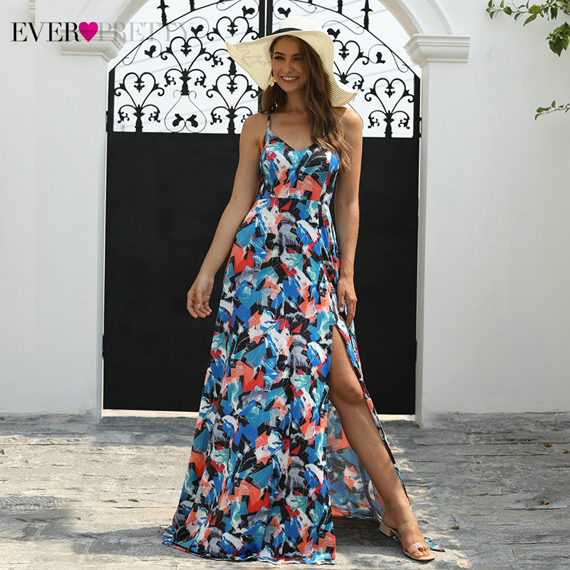 Sexy Floral Printed Prom Dresses Long Ever Pretty A-Line V-Neck Spaghetti Straps Side Split Simple Beach Dress Gala Jurken 2019