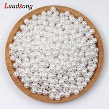 Vário tamanho branco imitação de pérolas contas redondas solta espaçador contas para fazer jóias diy colar pulseira jóias encontrando