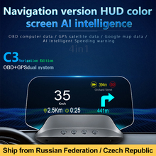 New 2020 Electronics C3 Navigation Hud Head Up Display On-board Computer OBD2 GPS Speedometer Overspeed Warning Smart Gadgets
