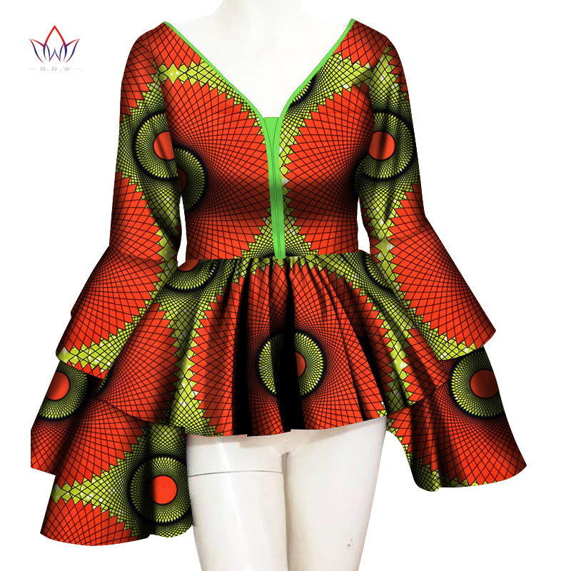 Ankara African Print Wax Shirt For Women Dashiki Long Sleeve Africa Clothing Plus Size Traditional African Clothing WY6232