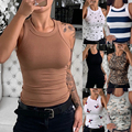 Женская футболка 2020, летние хлопковые топы, повседневные майки без рукавов, футболка с круглым вырезом, Женская майка