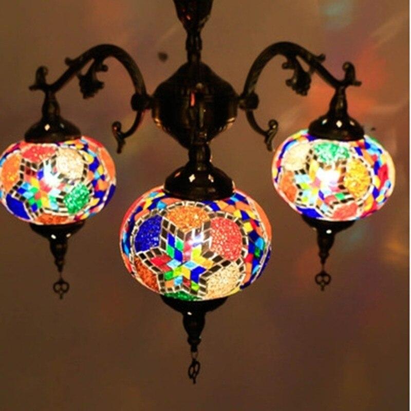 Этнические серьги Капельки Кулон с узором лампы витраж марокканский подвесной светильник коридор лестница кафе ресторан Подвесная лампа - 4