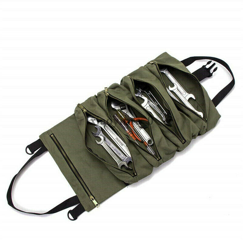 Car Tool Roll Up Bags Waxed Canvas Storage Carrier Pouch Tools Tote Sling Holder Back Seat Organizer