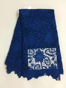 French Net Lace Fabric 2019 Latest african guipure lace fabric with embroidery mesh tulle blue cord Sequins lace fabric R12392