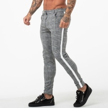 Повседневные мужские брюки-чиносы из хлопка, облегающие мужские брюки, узкие брюки-чиносы, серые уличные брюки длиной до щиколотки, клетчатые брюки в полоску