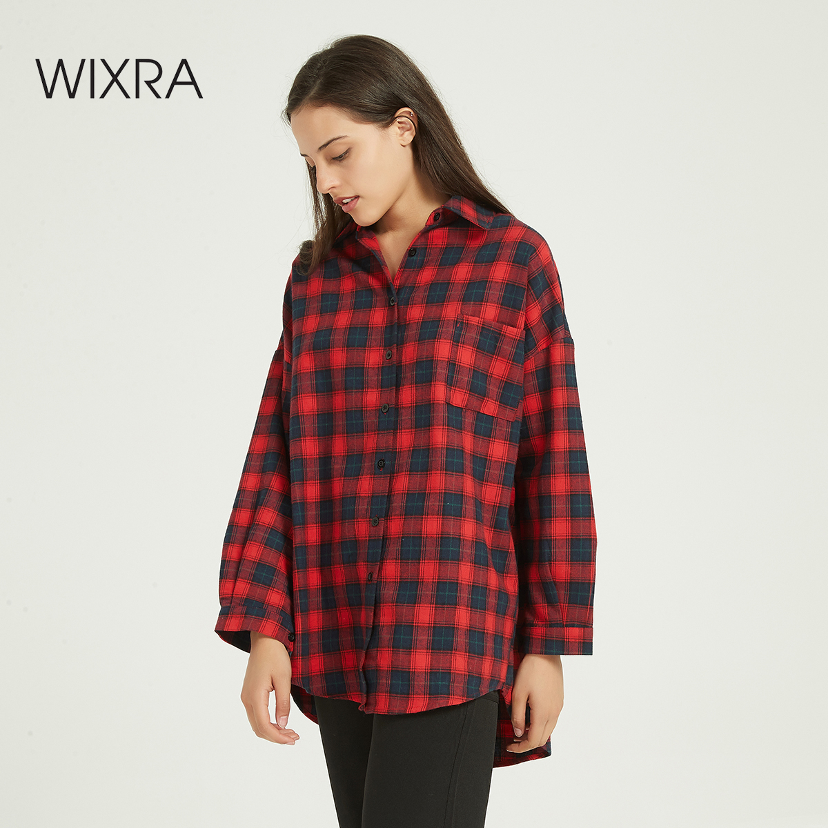 Wixra New Classic Casual Lapel Blouses Women Plaid Shirt Loose Checks Shirts Female Long Sleeve Tops Blouse Spring Autumn