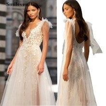 Smileven линия V шеи кружева свадебные платья 2020 спинки макси сторона Сплит свадебные платья vestido де noiva