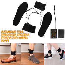1Pair Heated Shoe Insoles Heater Winter Snow Heating Black Electric Foot Skiing Keep Warm Sock With Battery Box