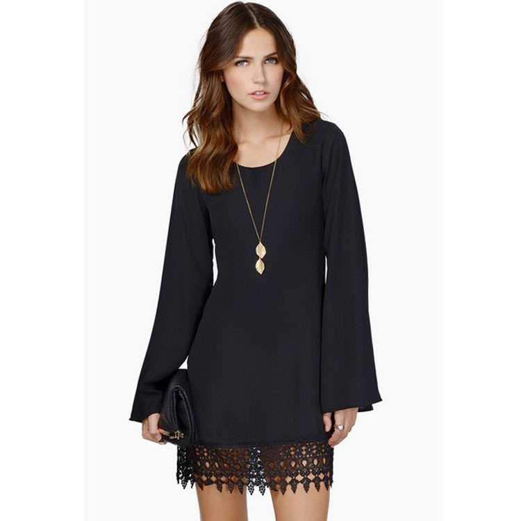 <font><b>AliExpress</b></font> Hot Selling Ozhouzhan Autumn New Products <font><b>Dress</b></font> Lace Joint Chiffon Long Sleeve Large Size <font><b>Dress</b></font> image