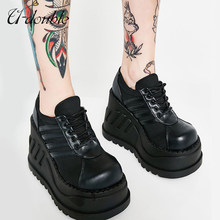 U-DOUBLE Brand Wedge Thick Bottom Fashion Punk Shoes Woman Fashion Classics Gothic Boots Women Ladies High Platform Flats Black