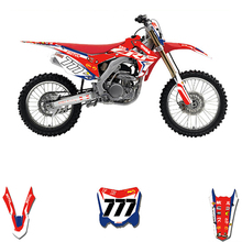 Customized Number Full GRAPHICS BACKGROUNDS DECAL STICKER Set For Honda CRF250R CRF250 2014   2017 CRF 450 CRF450R 2013   2016