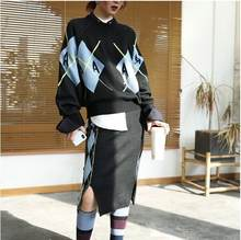 Осенне зимний вязаный комплект женские костюмы плотный свободный