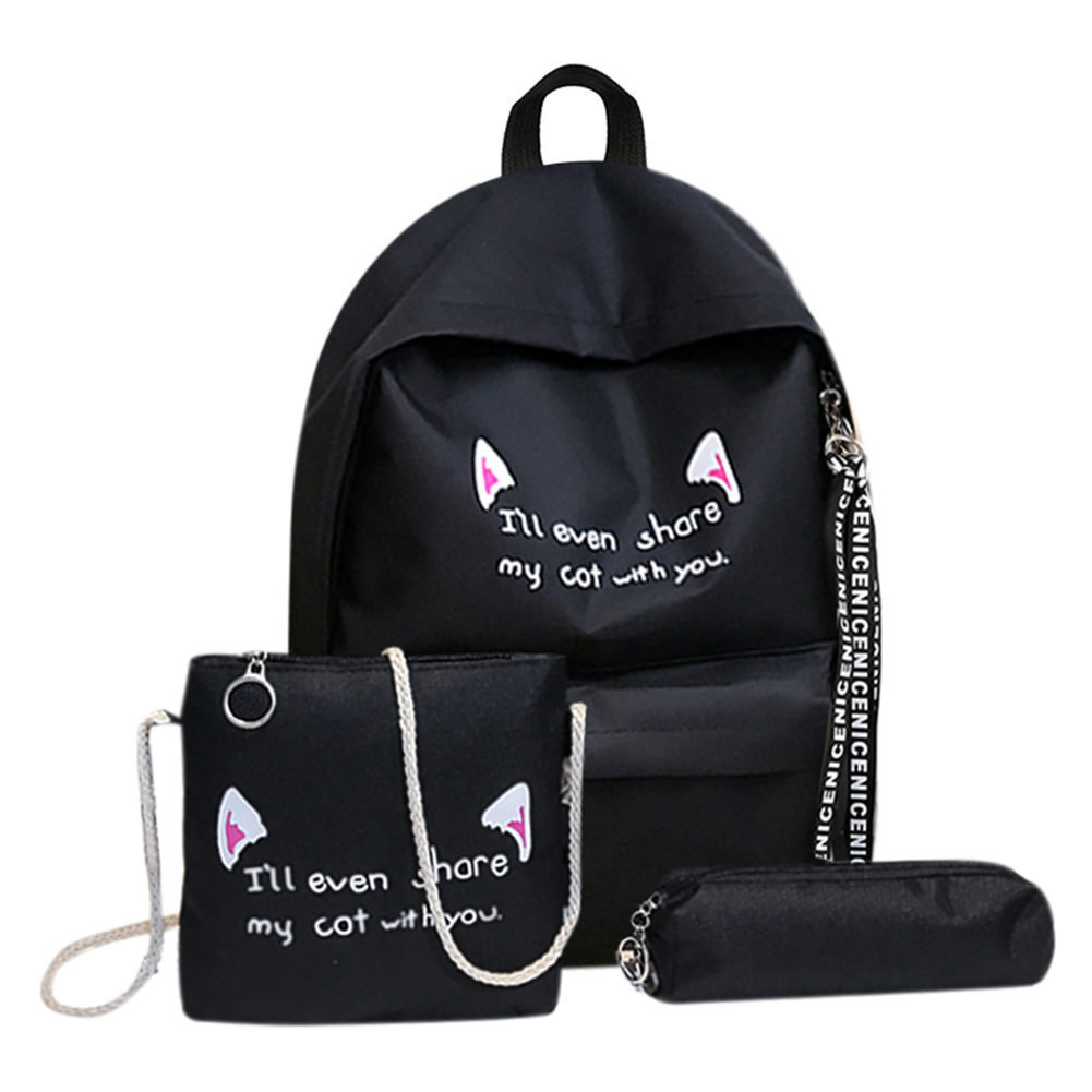 3pcs/set Women Girls School Solid Casual Large Capacity Cat Print Backpacks Shoulder Travel Bags Rucksack Canvas Bags Mochila