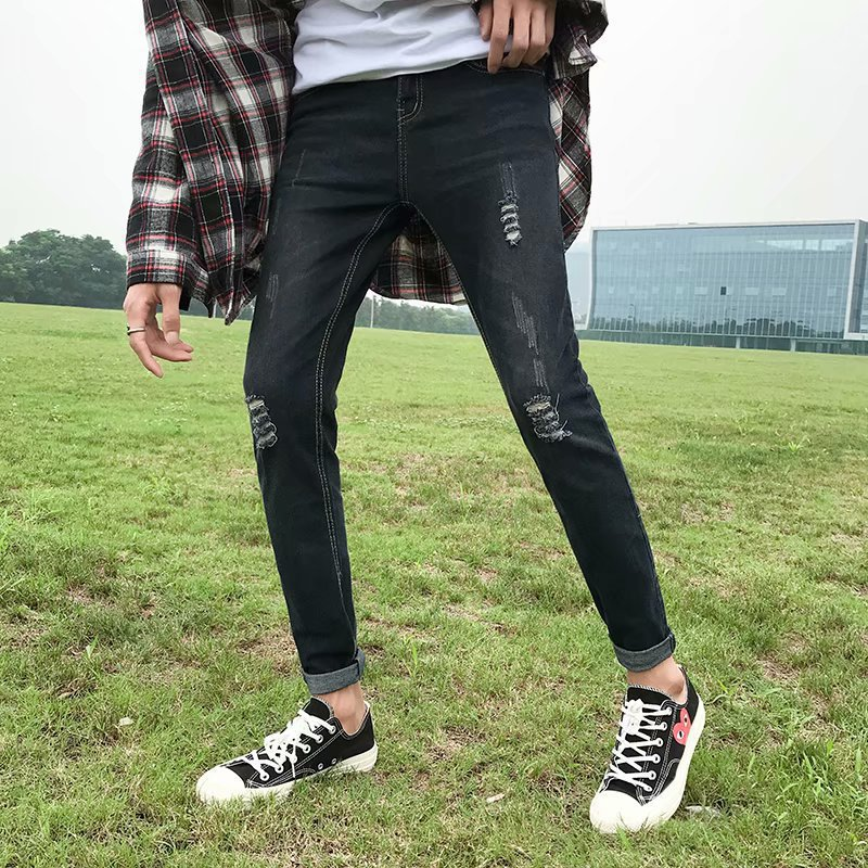 Summer Black Ripped Denim (Ankle-length Pants) Men's Korean-style Slim Fit Versatile MEN'S Jeans Youth Students 9 Pants